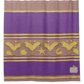 Het paarse Decoratieve Gouden Shells Gordijn van