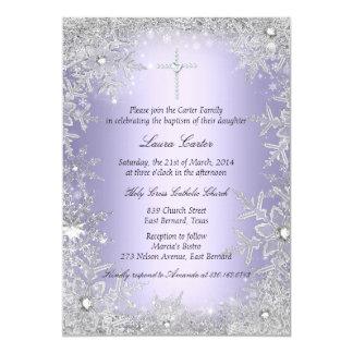 Het paarse Doopsel/het Doopsel van de Sneeuwvlok 12,7x17,8 Uitnodiging Kaart