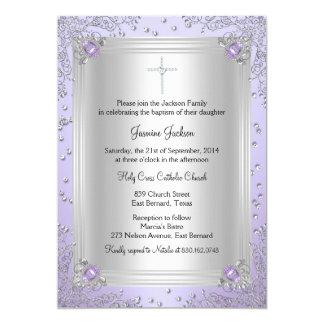 Het paarse Doopsel/het Doopsel van het Juweel van 12,7x17,8 Uitnodiging Kaart
