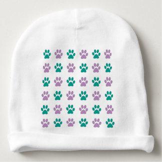Het paarse en blauwgroen print van de puppypoot baby mutsje