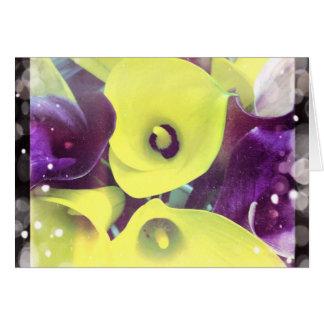 Het paarse en Gele Calla Lege Wenskaart van Lelies