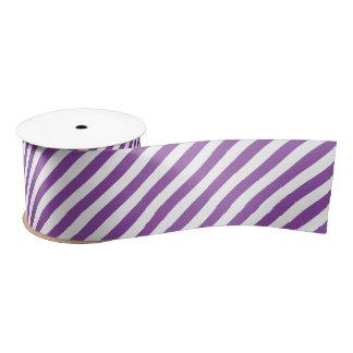 Het paarse en Witte Diagonale Patroon van Strepen Satijnen Lint