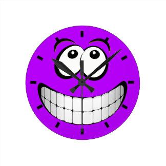 Het paarse Gekke Gezicht van Smiley van Ogen Ronde Klok