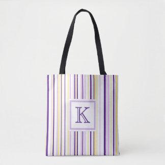 Het paarse & Gele Canvas tas van het Monogram van
