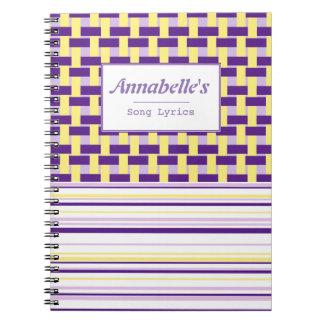 Het paarse & Gele Klantgerichte Notitieboekje van Ringband Notitieboek