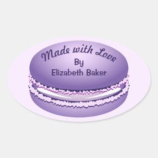 Het Paarse Gepersonaliseerde Koekje Macaron van Ovale Sticker
