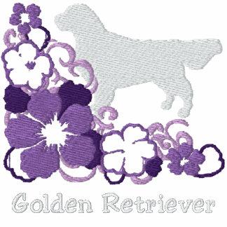 Het paarse Golden retriever van de Hibiscus Geborduurde Dames Hoodie Met Rits