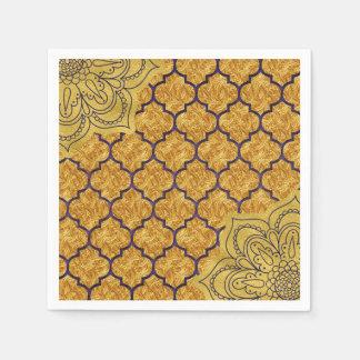 Het paarse Gouden Elegante Koninklijke Indische Wegwerp Servetten
