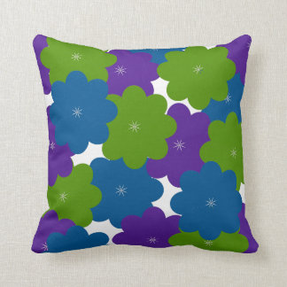 Het paarse, Groene & Blauwe BloemenDecor werpt Sierkussen