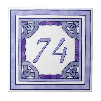 Het Paarse Grote Huisnummer van de lavendel Tegeltje