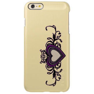 Het paarse Grungy Donkere Hart van Strepen Incipio Feather® Shine iPhone 6 Plus Hoesje