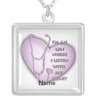 Het paarse Hart van de Verpleegster LPN Ketting Vierkant Hangertje