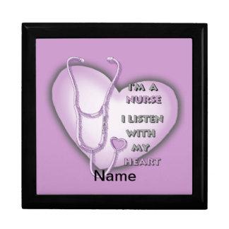 Het paarse Hart van de Verpleegster Vierkant Opbergdoosje Large