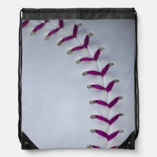 Het paarse Honkbal/het Softball van Steken Trekkoord Rugzakjes