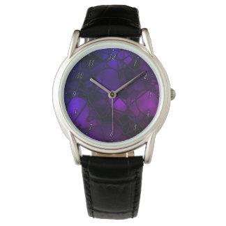 Het paarse Horloge van het Gebrandschilderd glas
