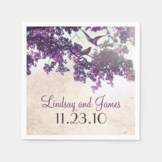 Het paarse Huwelijk van de Vogels van de Liefde Papieren Servet