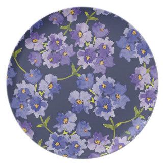 Het paarse & Marineblauwe Bloemen Geschilderde Bord