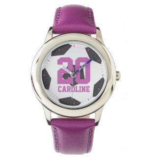 Het paarse Meisje van de Bal van het Voetbal Horloges