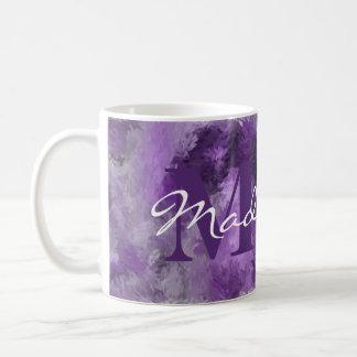 Het paarse Monogram van Indrukken met Naam Koffiemok