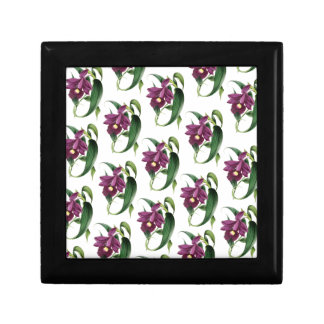 Het paarse Patroon van de bloemen van Orchideeën Decoratiedoosje