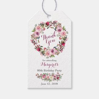 Het paarse Roze nam Bloemen 80ste Verjaardag dankt Cadeaulabel