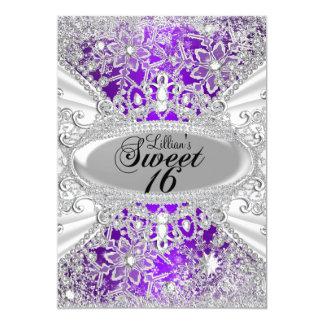Het paarse Sprookjesland Sweet16 van de Winter van 12,7x17,8 Uitnodiging Kaart