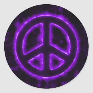 Het paarse Teken van de Vrede Ronde Stickers