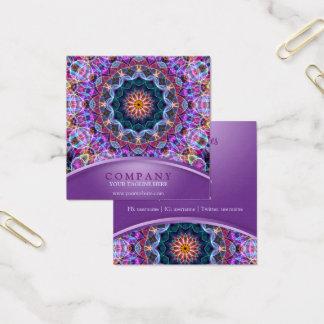 Het paarse Vierkant van Lotus Mandala Vierkante Visitekaartjes