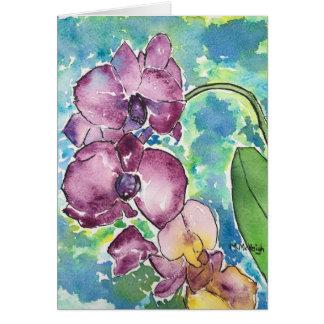 Het paarse Wenskaart van de Kunst van Orchideeën