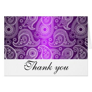 Het paarse & Witte Kant Paisley dankt u nota neemt Briefkaarten 0