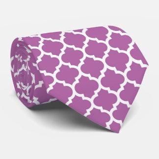 Het Paarse Witte Marokkaanse Quatrefoil Patroon Custom Stropdassen