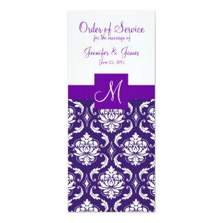 Het paarse Witte Programma van het Huwelijk van 10,2x23,5 Uitnodiging Kaart