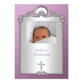 Het paarse Zilveren DwarsDoopsel van het Juweel 12,7x17,8 Uitnodiging Kaart