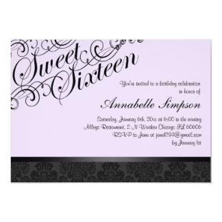 Het paarse & Zwarte Elegante Damast Sweet16 nodigt 12,7x17,8 Uitnodiging Kaart