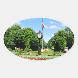 Het Park van Cismigiu in Boekarest, Roemenië Ovale Stickers