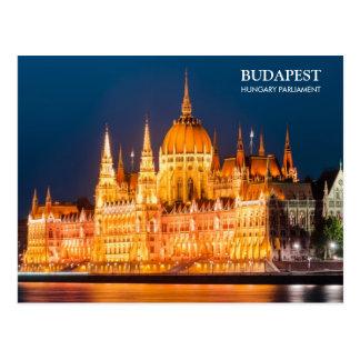 Het Parlement van Boedapest in nachtBriefkaart Briefkaart