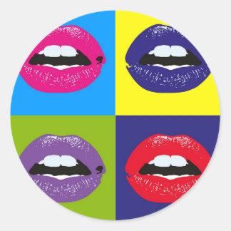 Het Patroon Deisgn van de Lippen van het pop-art Ronde Sticker