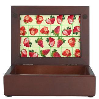 Het patroon van aardbeien bewaardoosje