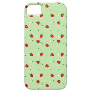Het Patroon van aardbeien met Groene Achtergrond Barely There iPhone 5 Hoesje