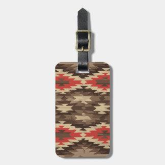 Het Patroon van bruine/Navajo van het Terracotta Kofferlabel