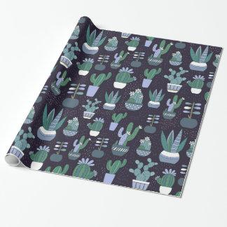 Het patroon van de cactus cadeaupapier