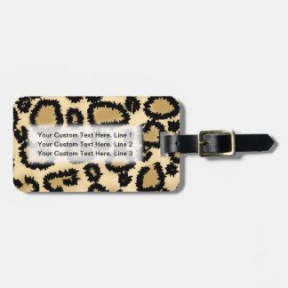 Het Patroon van de Druk van de luipaard, Bruin en Kofferlabels