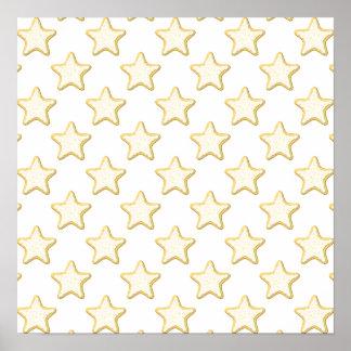 Het Patroon van de Koekjes van de ster. Op Wit Poster