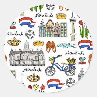 Het Patroon van de Krabbel van Netherland Ronde Sticker