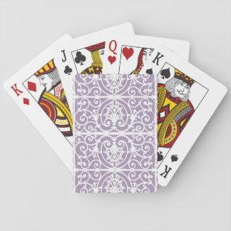 Het patroon van de lavendel scrollwork speelkaarten