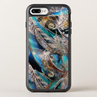 Het patroon van de mode met blauwe veren. Trendy OtterBox Symmetry iPhone 8 Plus / 7 Plus Hoesje