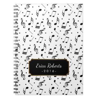 Het Patroon van de muziek met Elegante Muzikaal Notitieboek