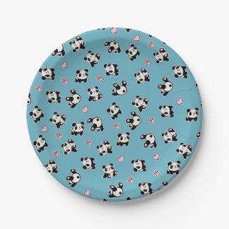 Het patroon van de panda papieren bordje