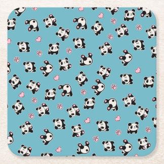 Het patroon van de panda vierkante onderzetter