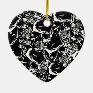 Het patroon van de schedel keramisch hart ornament